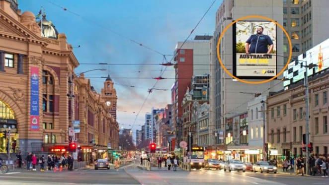 Signage on Melbourne's busiest corner for Burgess Rawson auction