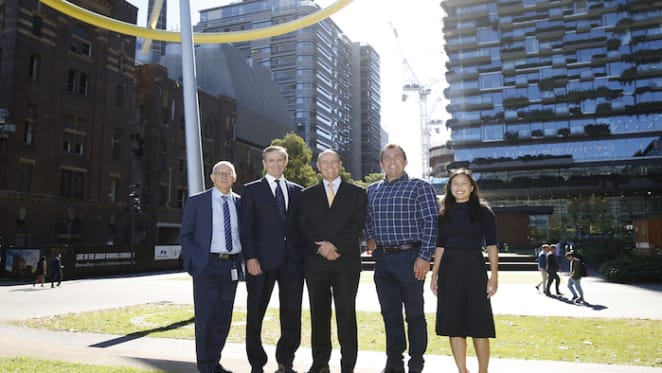 UTS sign Central Park, Chippendale tenancy