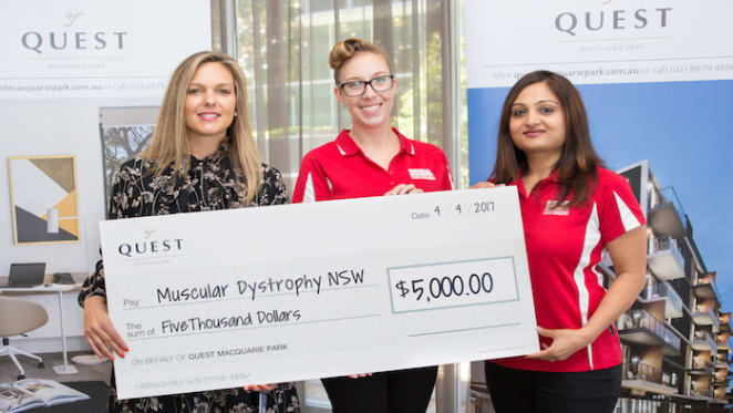 Quest Macquarie Park donates $5,000 to Muscular Dystrophy NSW