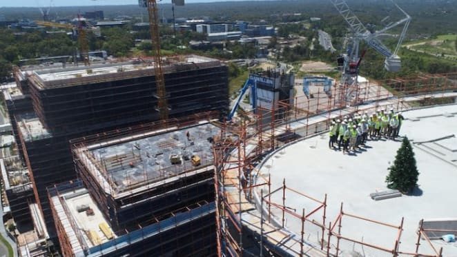 Greenland tops out Macquarie Park project nbh at Lachlan's Line