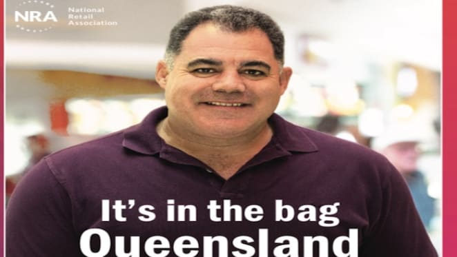 Queensland rugby legend Mal Meninga joins retailers to fight toxic bag pollution