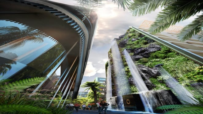 Crown Group reveals Australia's tallest man made waterfall in Waterloo project
