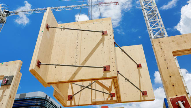 First timber arrives for the world's largest and tallest engineered timber office building