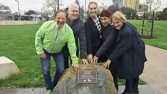 The first new park in Fishermans Bend officially opens