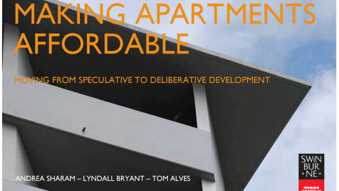 Making apartments affordable: moving from speculative to deliberative development