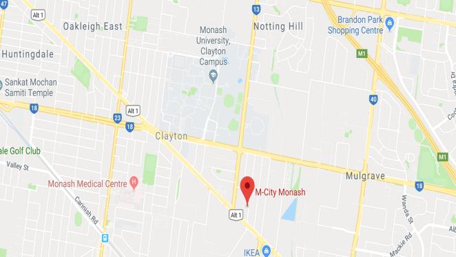 M-City location at 2107-2125 Dandenong Road, Clayton, VIC 3168. Image by Google Maps