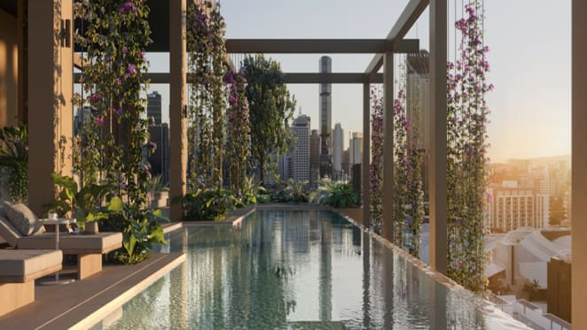 Aria offer over 1,100 sqm of resort-style amenity at Trellis, South Brisbane apartments