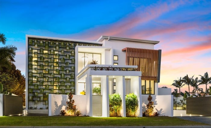 Newly built Sovereign Islands home with vertical garden facade home listed