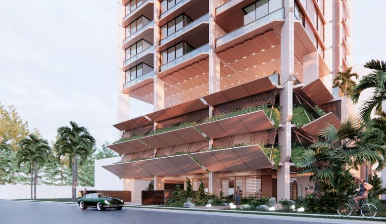 The street-level render of the Broadbeach tower. Image supplied