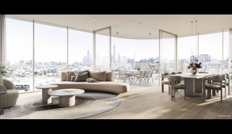Bide's living and dining area. Image supplied