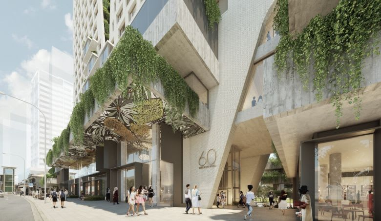 The modern street-level entry. Image credit: Turner Studio