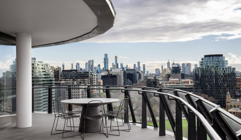 An apartment balcony in St Kilda Boulevard. Image supplied