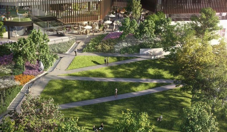 Melbourne Square's public park.