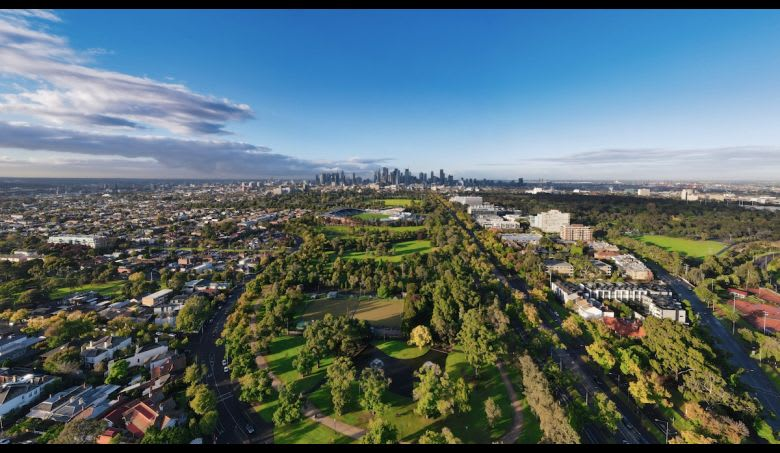 The location of Park Street looking back to the Melbourne CBD. Image supplied
