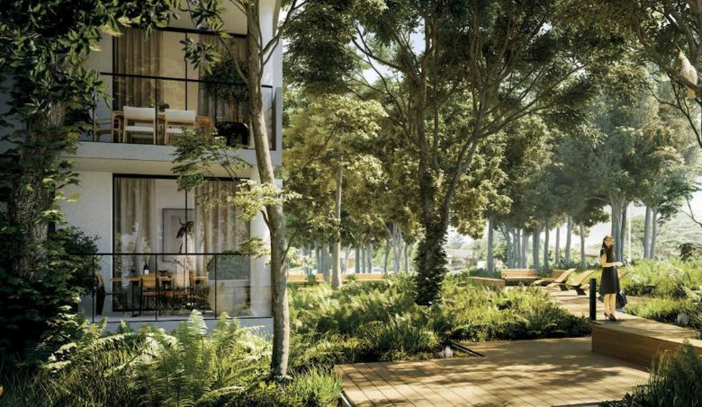Neue's landscaped grounds in Macquarie Park. Image supplied