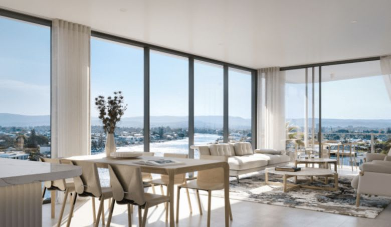 A living room in the One Cannes tower. Image supplied