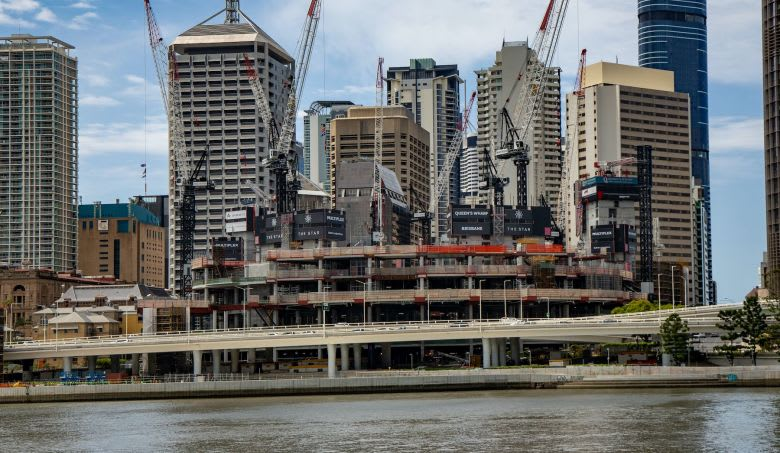 The mixed-use Queens Wharf development accounts for 12 per cent of all the cranes in Brisbane
