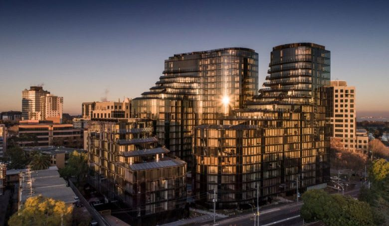 Elenberg Fraser designed the three glass-swathed towers. Image supplied
