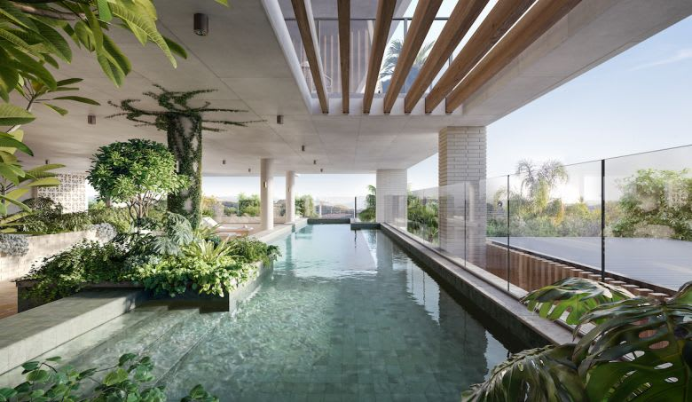 The luxury resort-style pool in the building. Image supplied