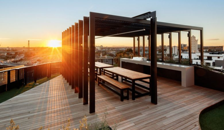 Volaire's communal rooftop terrace