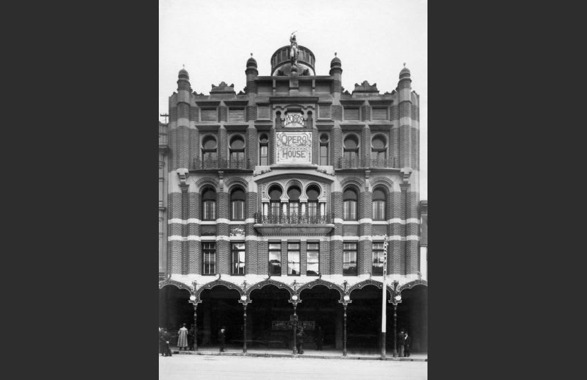The New Opera House (Tivoli Theatre) shortly after its opening in 1901. Original raw photograph from The State Library of Victoria, restored by me.