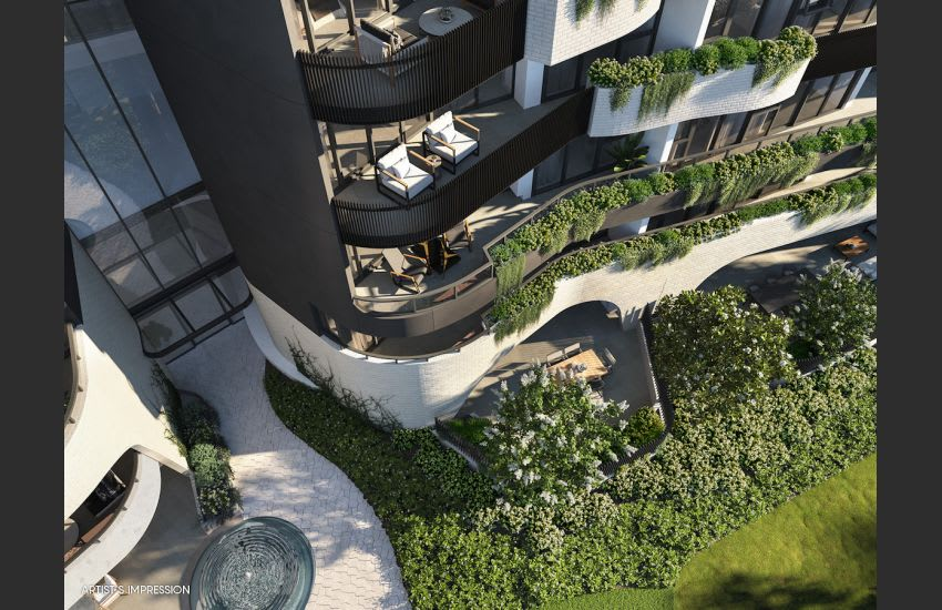 The curved balconies at Forme. Image is an artist's impression
