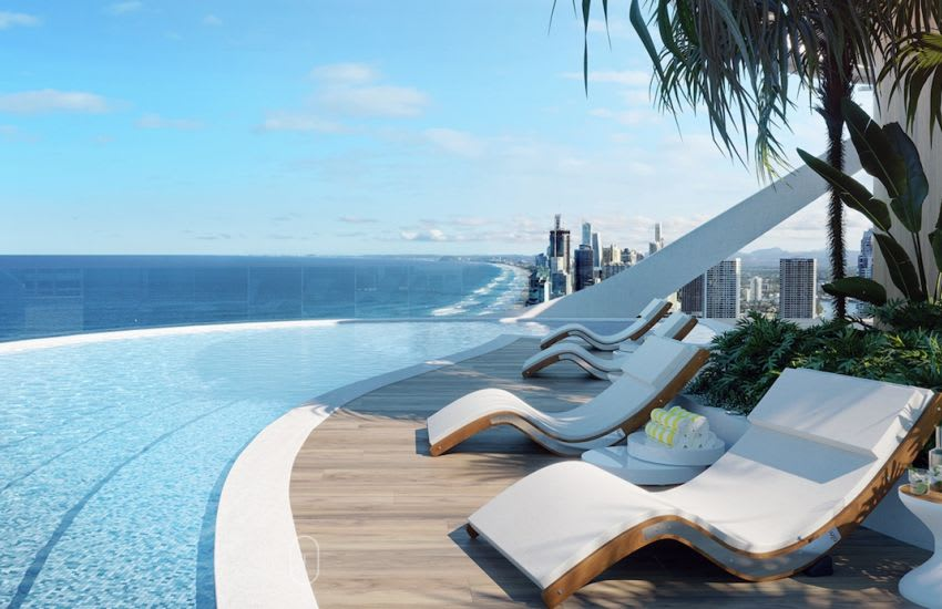 The resident pool, part of the rooftop amenity. Image supplied