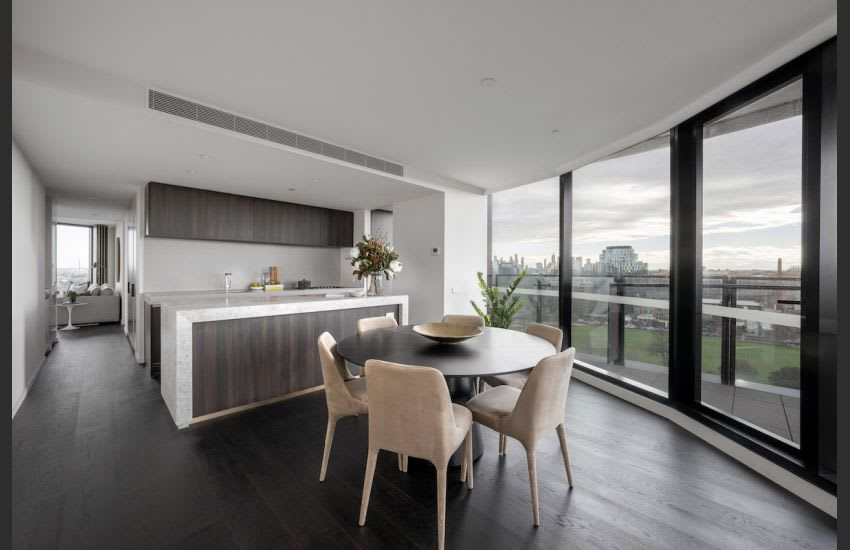 The open plan kitchen and dining area in St Boulevard. Image supplied