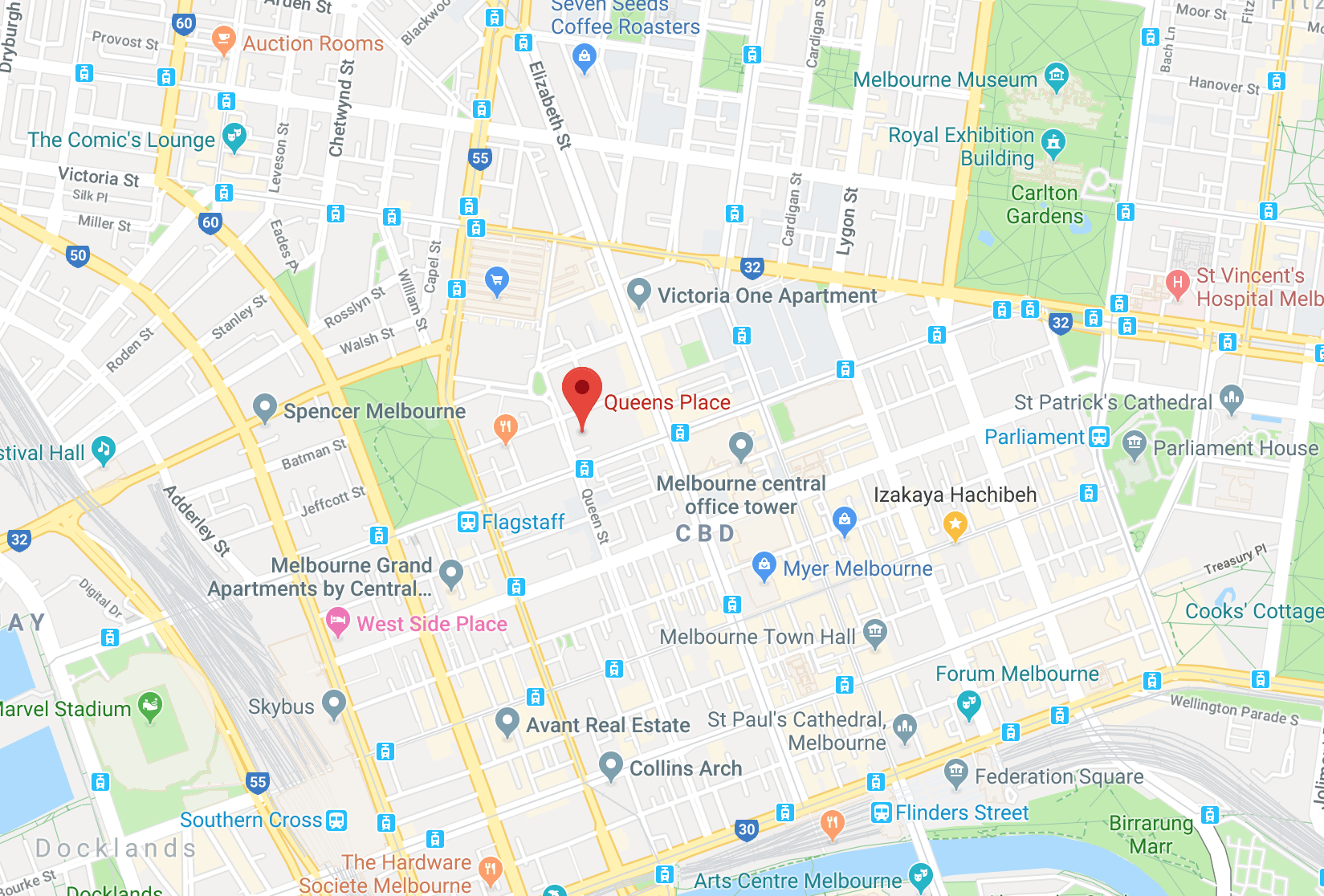 Location of Queens Place at 350 Queen Street, Melbourne 3000