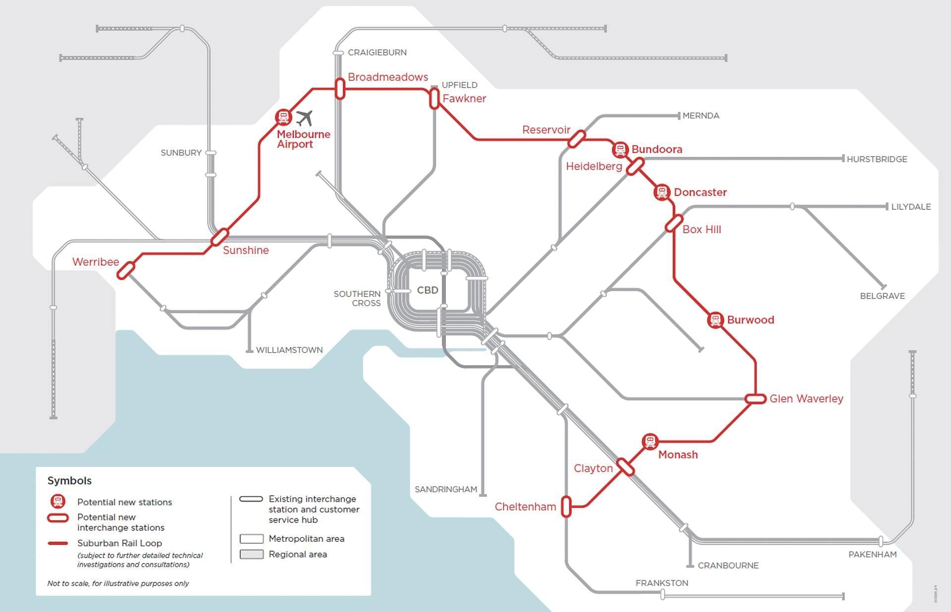 Victoria's Big Build Image of the Suburban Rail Loop Superimposed over Melbourne's Existing Suburban Rail System.