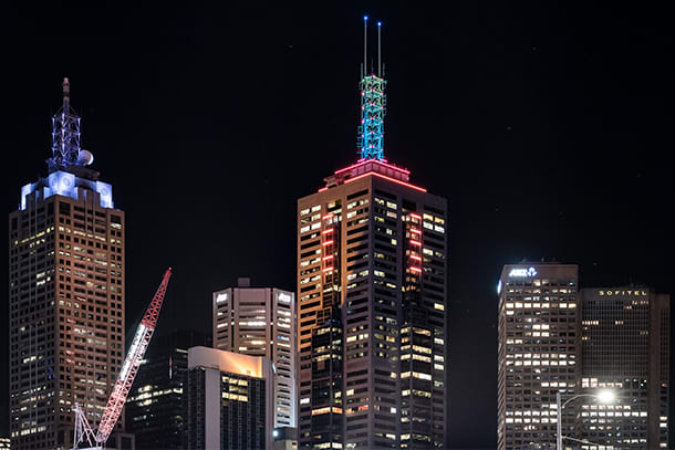 Lighting 101: A Collins Street landmark lights up the Melbourne skyline