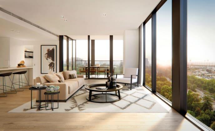 Apartment interior - Render © Bates Smart