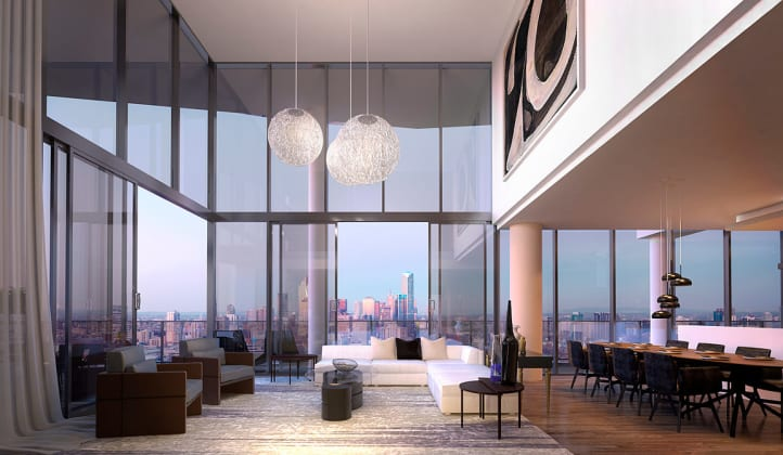 Penthouse Living area interior view, Render © Mirvac Group
