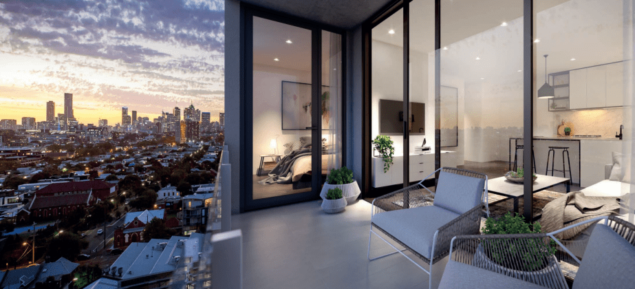 Embassy - one bedroom residence balcony & view. Image: FKD