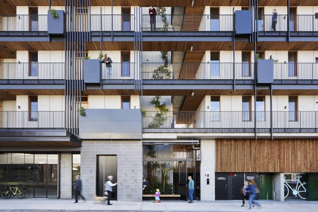 Designed by Six Degrees Architects and delivered as a collaboration between HIP V. HYPE and Six Degrees, this project has been delivered in accordance with the Nightingale Housing values. Photograph by Tess Kelly.