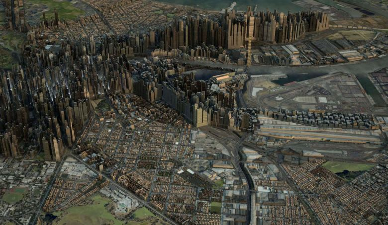 What a future Melbourne could look like if growth was concentrated in the inner city without middle suburban infill. Image: Monash Architecture Studio, MADA