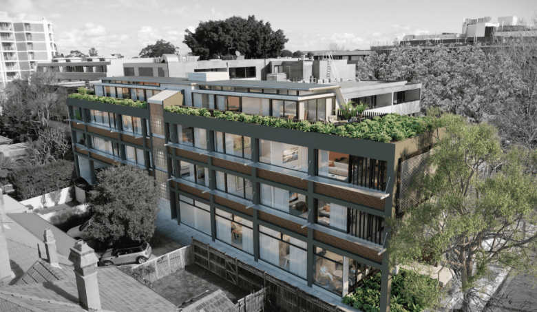 CGI Render for Proposal at Myrtle Street, North Sydney. Conversion of a three-storey commercial office into a four-storey mixed use commercial and residential development.