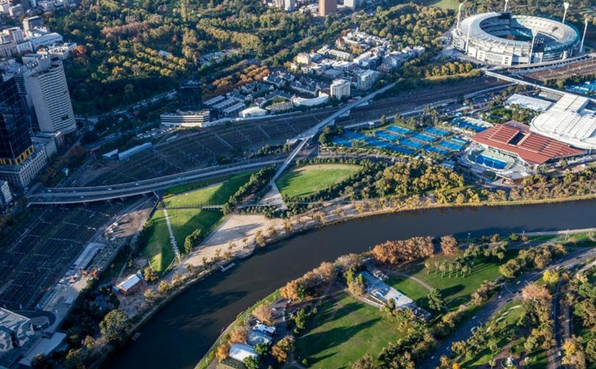 Aerial view of Alexandra Gardens and Birrarung Marr and surrounding open space. Image credit: [City of Melbourne]