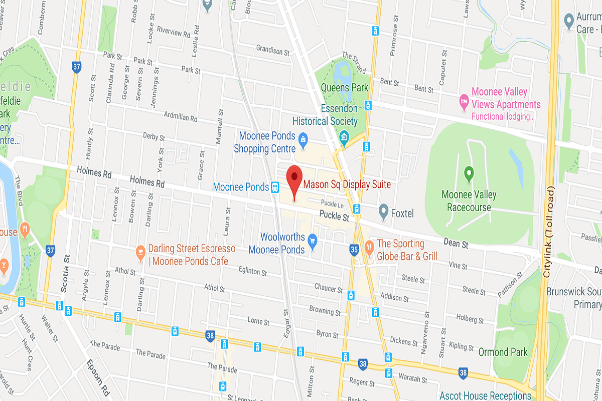 Location of Mason Square at 122a Puckle Street, Moonee Ponds. Image by Google Maps.