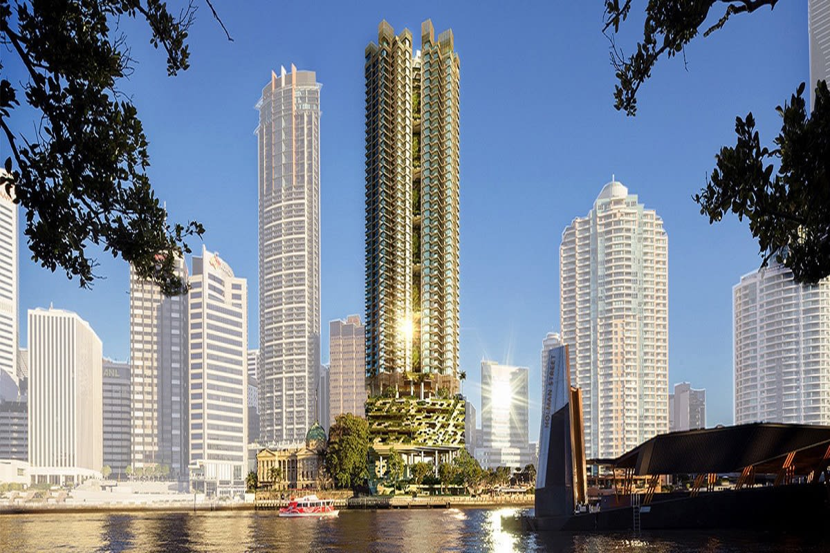 Rendering of 443 Queen Street as it stands in Brisbane's skyline.