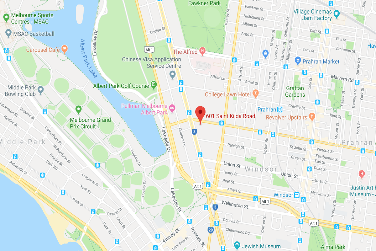 Location of St Boulevard. 601 St Kilda Road. Image by Google Maps.