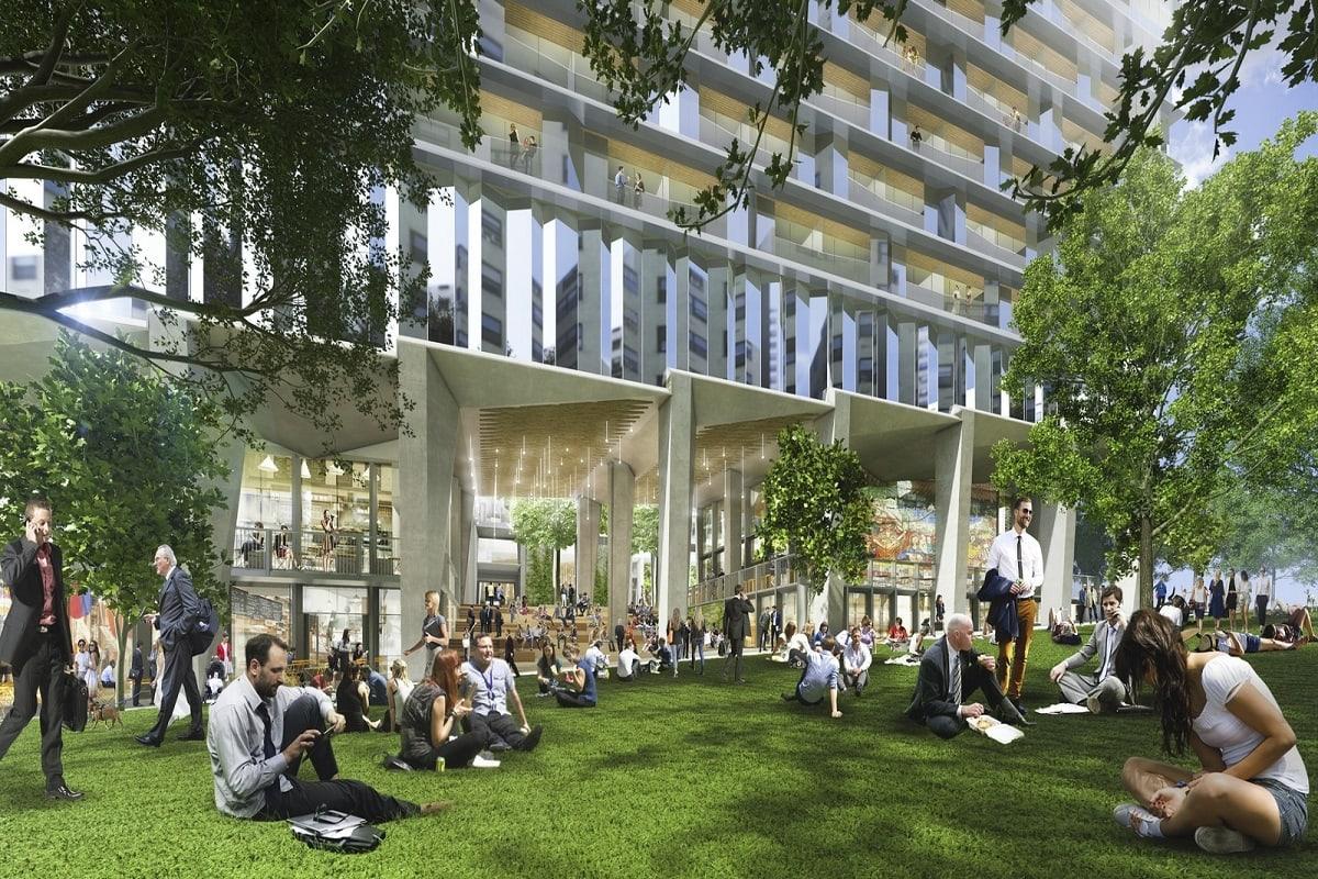 The landscaped public park. Render by SHoP Architects