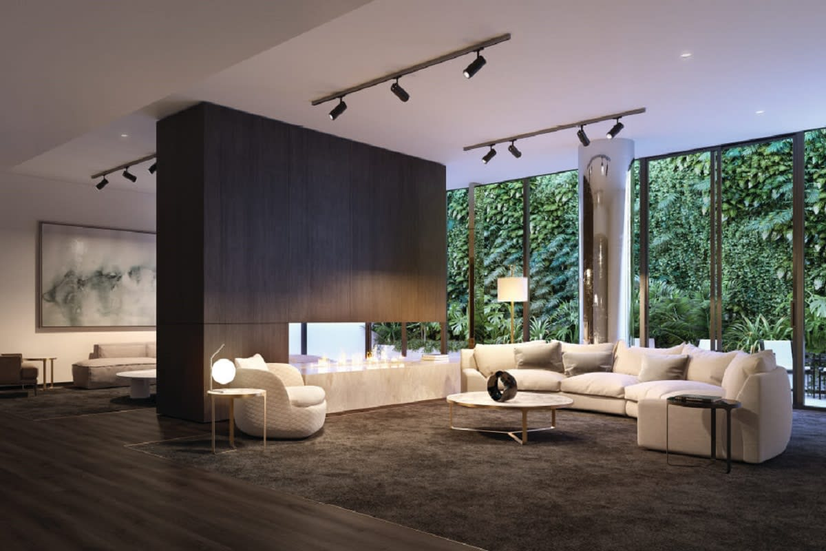 Rendering of communal living space with vertical plant walls. Image by theevermore.com