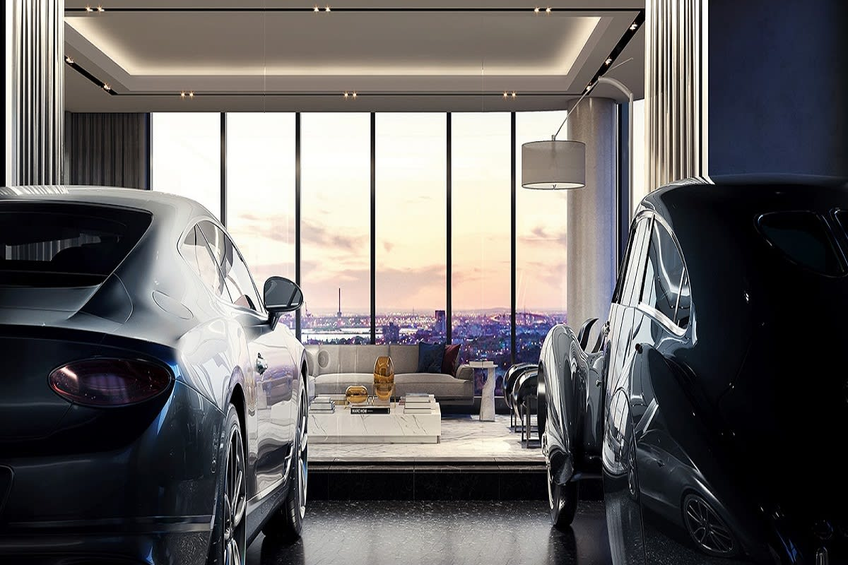 Park your luxury cars in your whole floor apartment. Rendering by Growland.com