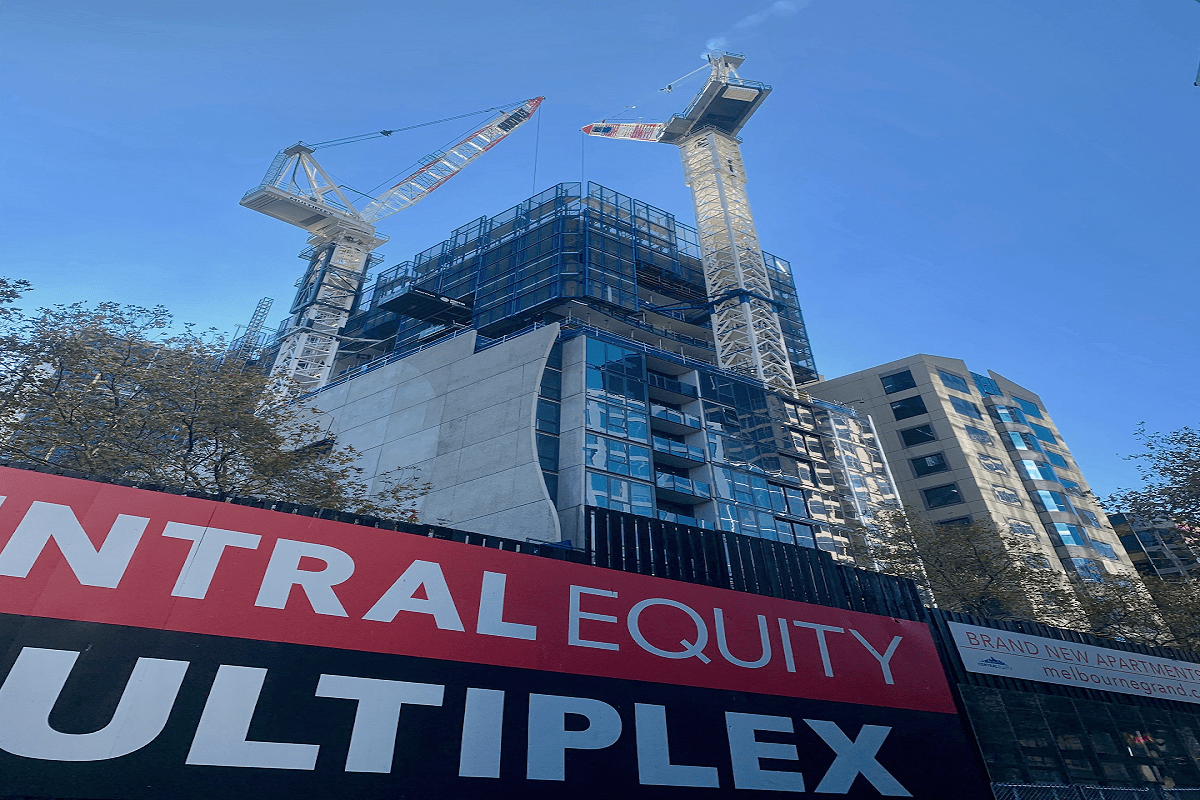 Construction update of Melbourne Grand as of late June, 2019. Image via Centralequity.com