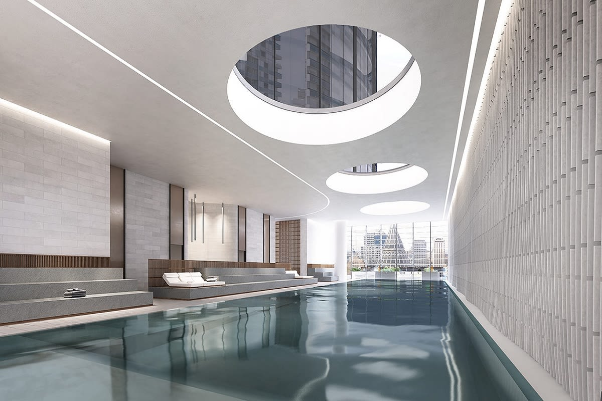 Rendering of Level 9 pool at Aurora Melbourne Central. Image by Auroramelbourne.com