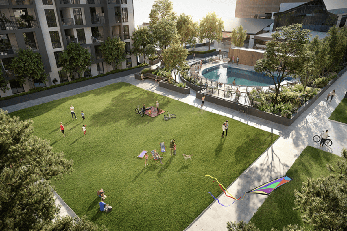 Rendering of the communal residents garden and pool.