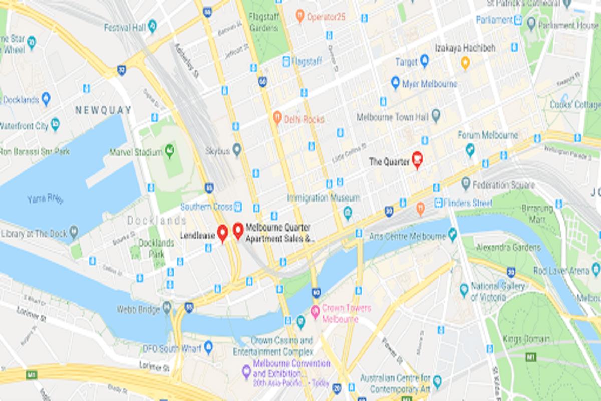 Melbourne Quarter's location at 691 Collins Street.