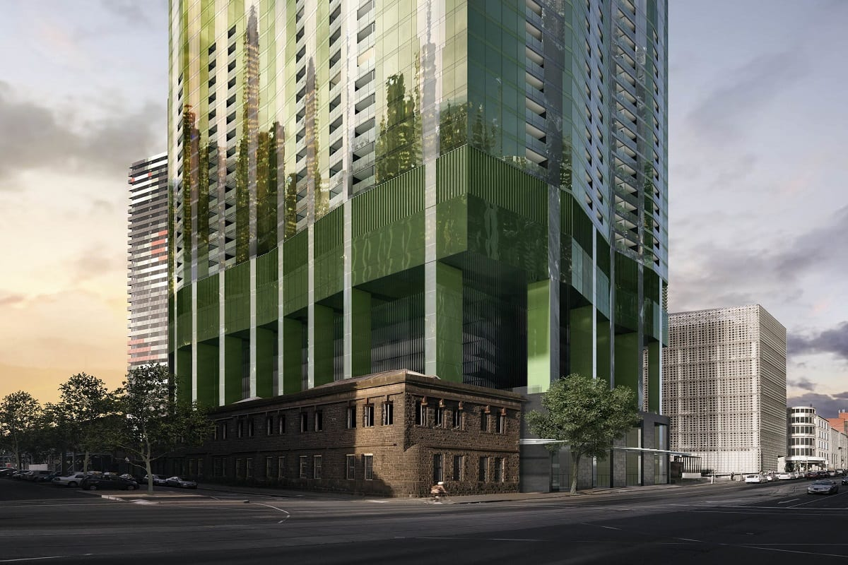 The heritage integrated podium of Swanston Central Tower. Image by Multiplex.global