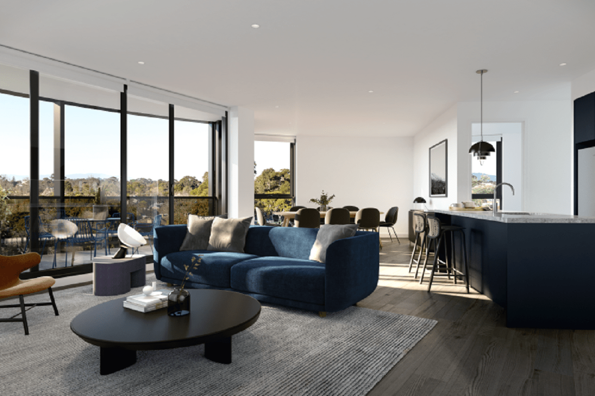 Rendering of an open plan living space.